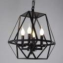 Black 4 Light Diamond Shape LED Chandelier Foyer Pendant Light