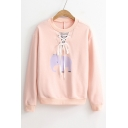 Bow Embellished Back Lace-Up Front Elephant Printed Round Neck Long Sleeve Pullover Sweatshirt