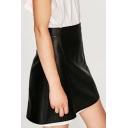 Women's Fashion Zip Side Plain Mini PU A-Line Skirt