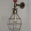 Industrial Loft Metal Cage Frame Wall Sonce with Valve Accent