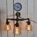 Industrial Pressure Gauge Wall Sconce in Black Finish with Cage Frame, 3 Lights