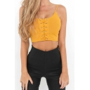 Fashion Sexy Grommet Lace-Up Spaghetti Straps Cropped Plain Cami Top