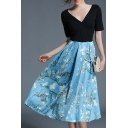 Fashion Plunge Neck Short Sleeve Floral Pattern Midi A-Line Dress