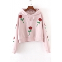 Fashion Sequined Floral Pattern Long Sleeve Hoodie Sweatshirt