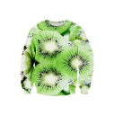 Hot Fashion 3D Fruit Pattern Round Neck Long Sleeve Pullover Sweatshirt
