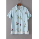 High Low Hem Floral Printed Lapel Collar Short Sleeve Buttons Down Shirt