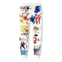 3D Cartoon Pattern Elastic Drawstring Waist Casual Leisure Sports Pants