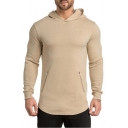 Casual Leisure Simple Plain Long Sleeve Zip Design Fitted Hoodie