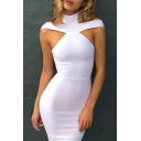 Summer's New Trendy High Neck Hollow Out Sleeveless Plain Bodycon Midi Dress