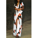 Holiday Beach Plunge Neck Short Sleeve Color Block Maxi Split Front Wrap Dress