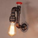 10'' H Aged Copper 1 Light Pipe LED Wall Sconce in Faucet Design