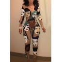 New Arrival Fashion Sketch Character Printed Round Neck Long Sleeve Skinny Jumpsuits