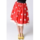 Classic Summer's Polka Dot Pattern Elastic Waist Chic Midi Flared Skirt