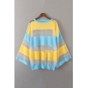 Fashion Color Block Striped Printed Round Neck Batwing Sleeve Sheer Mesh Sweater