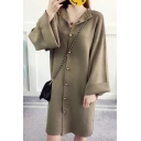 New Arrival Fashion Reversible Long Sleeve Tunic Plain Buttons Down Cardigan