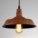 Industrial Hanging Pendant Light Wide in Rust Finish