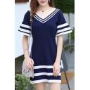 Color Block Striped Printed V Neck Short Sleeve Mini Casual T-Shirt Dress