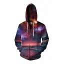 Hot Fashion 3D Galaxy Printed Long Sleeve Casual Unisex Zip Up Hoodie