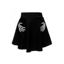 Fashion Skeleton Hands Printed High Waist Summer's Mini A-Line Skirt