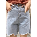 Fresh High Waist Asymmetric Cutout Hem Plain Denim Shorts