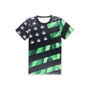 Hip Hop Style Color Block Round Neck Short Sleeve Loose Leisure T-Shirt
