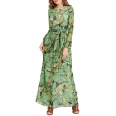 Summer's Fashion Foliage Printed Round Neck Long Sleeve Maxi Beach Dress