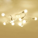 White Bulbs Spider Semi-Flush Light Contemporary