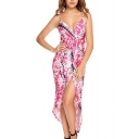 Spaghetti Straps Plunge Neck Tie Dye Split Front Maxi Beach Slip Dress