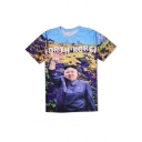 New Fashion 3D Character Pattern Round Neck Short Sleeve Pullover T-Shirt