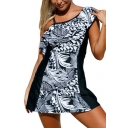 Hot Fashion Leaves Printed Color Block One Shoulder Mini Swimwear Dress