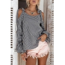 Summer's Classic Plaids Printed Cold Shoulder Long Sleeve Leisure Blouse