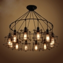 Industrial Multi Pendant Light 12 Light with Lantern Metal Cage in Black