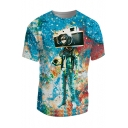 3D Galaxy Camera Astronaut Pattern Round Neck Short Sleeve Pullover T-Shirt