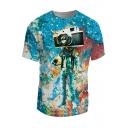3D Galaxy Camera Astronaut Pattern Round Neck Short Sleeve Pullover T-Shirt
