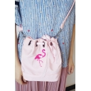 New Fashion Girls' Pink Flamingo Pattern Mini Outdoor Shoulder Bag