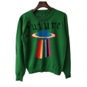 Geometry Letter Print Round Neck Long Sleeve Pullover Sweater