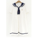 Fashion Color Block Navy Collar Short Sleeve Loose Linen Mini Smock Dress