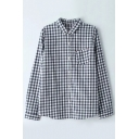 Basic Simple Plaids Printed Leisure Lapel Collar Long Sleeve Buttons Down Shirt