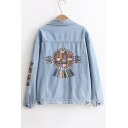 Chic Embroidered Back Retro Single Breasted Lapel Collar Long Sleeve Denim Jacket