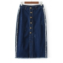 Fashion Fringe Hem Buttons Down Midi Pencil Denim Skirt