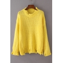 New Arrival Casual Leisure Round Neck Long Sleeve Ripped Trim Pullover Sweater