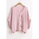 Fashion V-Neck Bell Long Sleeve Ripped Cutout Plain Sweater