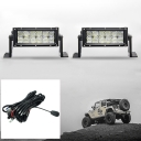 5D 7 Inch Off Road LED Light Bar CREE LED 36W 60 Degree Flood Beam Light For Off Road 4WD Jeep Truck ATV SUV Boat, Pack of 2 with 1 Wire Harness