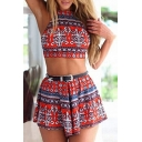 Women's Sexy Crisscross Back Cropped Cami with Skorts Tribal Printed Co-Ords