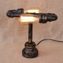 Retro Industrial Pipe Tabel Lamp in Rust Finish 2 Lights 11.5'' High