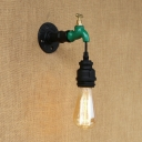 Industrial Tap Wall Sconce in Black Finish 7.4'' High