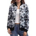 Classic Camouflage Pattern Stand Up Collar Long Sleeve Zip Up Baseball Jacket