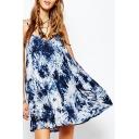 Women's Color Block Spaghetti Straps Sleeveless Mini Swing Cami Dress