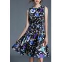 Fashion Cartoon Pattern Round Neck Sleeveless Midi A-Line Dress