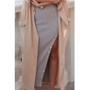 New Arrival Fashion Buttons Down Slit Side Plain Maxi Knit Bodycon Skirt